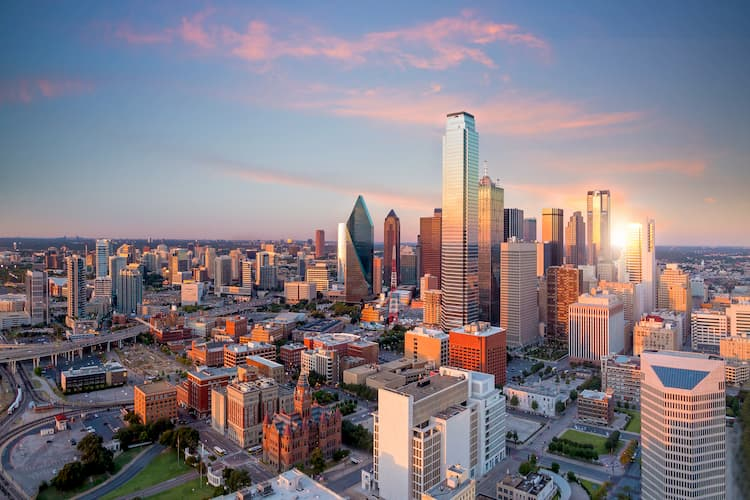 an aerial view of the city of Dallas