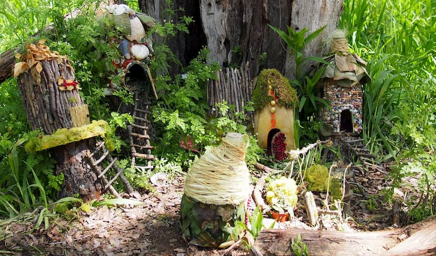tiny huts and cottages at the Woodland Faerie Trail in Austin Texas