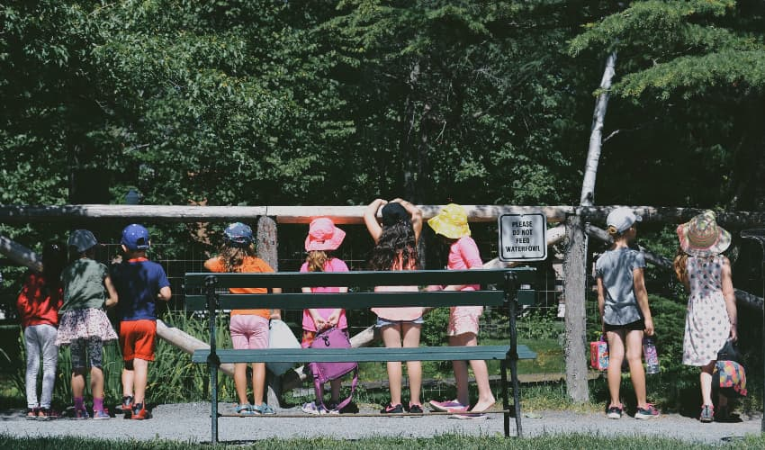 Children on a field trip at a park