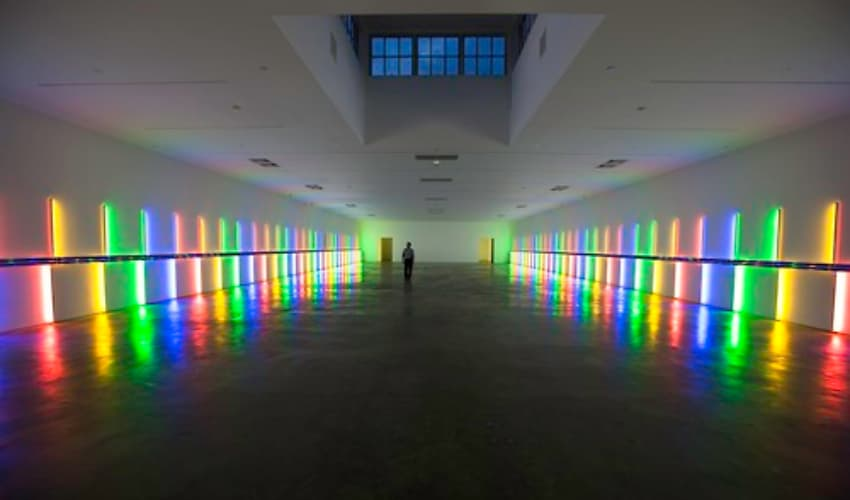 Modern art installation with lights in Robert Hall at the Menil Collection.