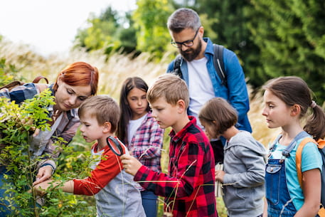 children use magnifying glasses to examine a plant while on a field trip