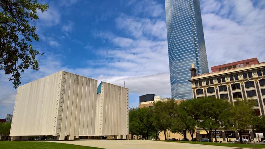 the exterior of the JFK memorial in Dallas