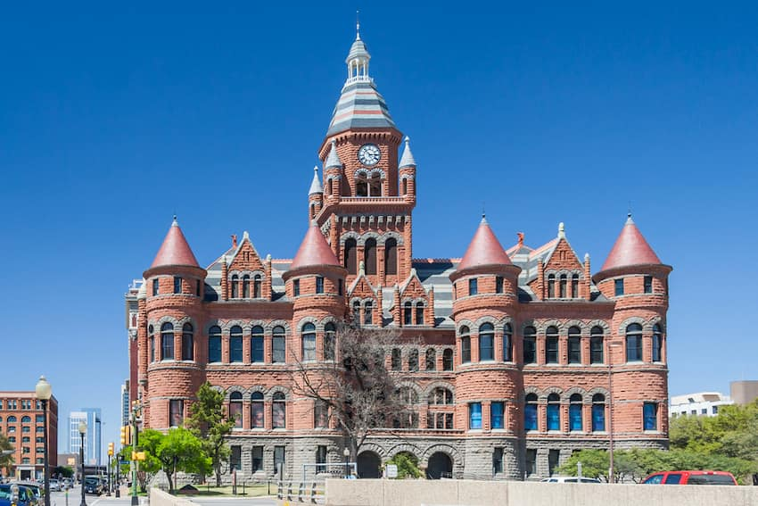 exterior of Dallas's old red museum, made of red sandstone