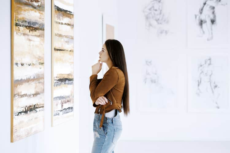 Woman gazing at art