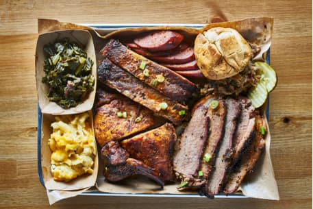 a plate filled with texas barbecue