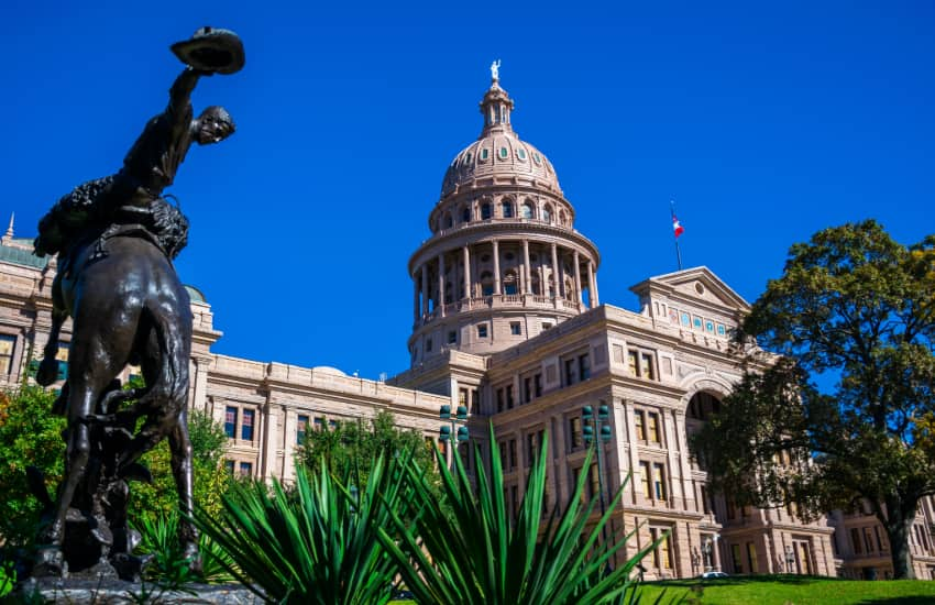 exterior of the Texas State Capitol Building in daylight