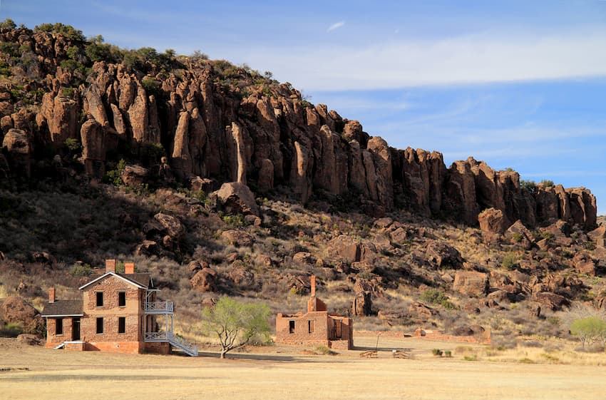 Buildings at mountains at Fort Davis Historic Site
