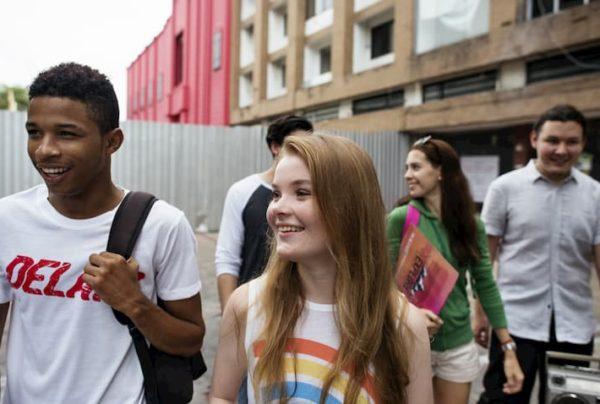 Teens walking together