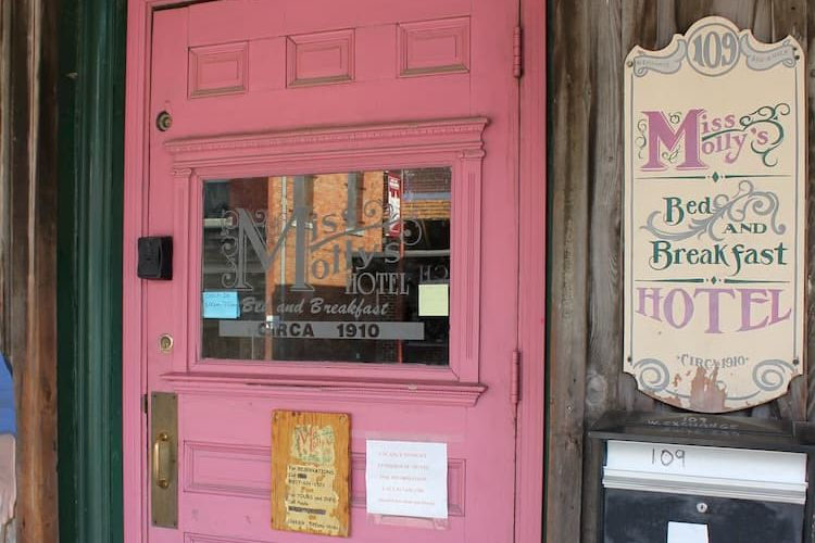 Pink door of Miss Molly's hotel