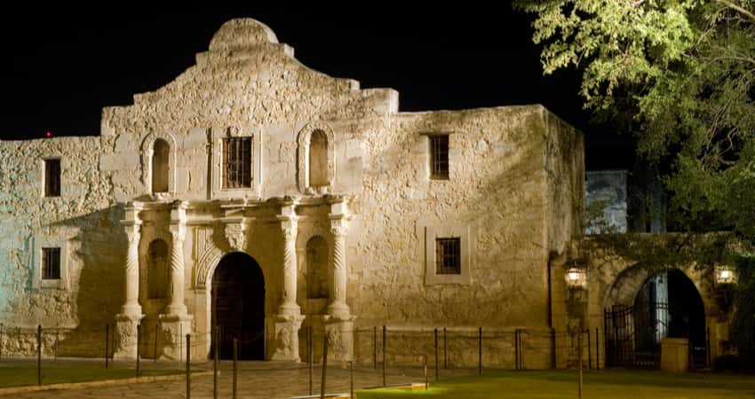 The outside of The Alamo in the evening
