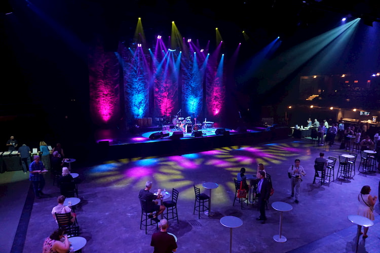 a stage is set up for the next act at ACL live at the moody theatre
