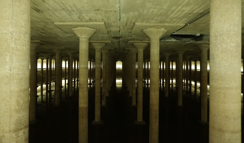 inside the buffalo bayou cistern in houston