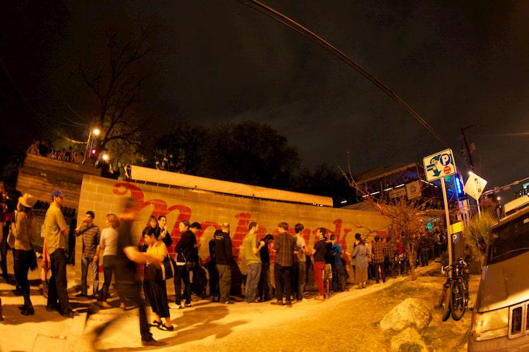 crowds line up outside of austin's 'mohawk' venue